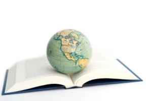 world globe on a open book